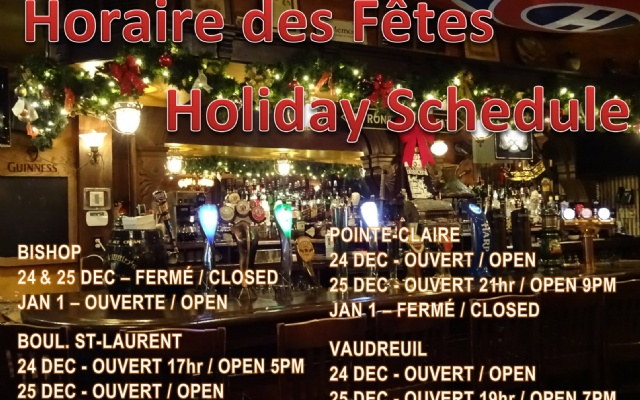 McKibbins Irish Pub: Montreal's original Pub & Bar  | Happy Holidays | McKibbins Irish Pub is the Montreal Irish Pub & Bar. The best bar & pub food in the Montreal area with an irish twist, live bands & over 24 beers on tap.